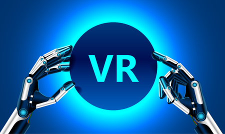 Virtual and augmented reality in the first person. Human hand in virtual reality like a robot. Technological concept. Banner for your logo or text. Stock Illustratie