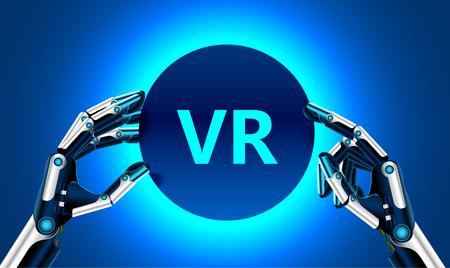Virtuelle und erweiterte Realität in der ersten Person. Menschliche Hand in der virtuellen Realität mögen einen Roboter. Technologisches Konzept. Banner für Ihr Logo oder Text. Standard-Bild - 81636895