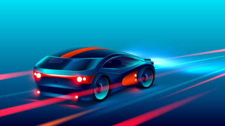 sports car racing on the highway in the night. VECTOR