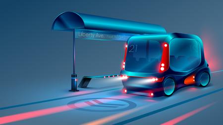 El autobús inteligente autónomo eléctrico o el minibús se detiene en la parada del autobús de la ciudad. VECTOR