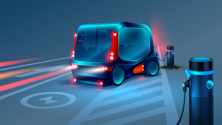 Electric smart bus or minibus charging station. Future concept. VECTOR