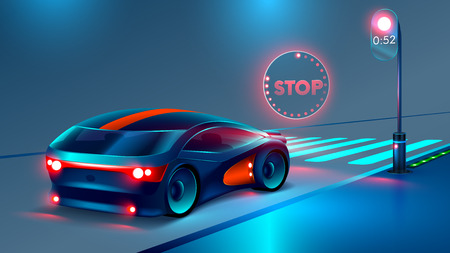 crosswalk. the car stopped at a red light before the pedestrian crossing. In front of the car illuminates the hologram of a stop sign. futuristic concept of road safety. VECTOR Illustration