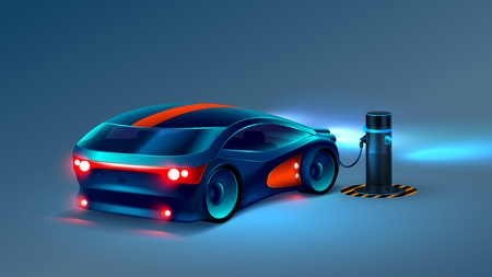 Electric car charging station. Future concept. VECTOR