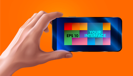 input device: Hand holding mobile smart phone with blank screen. horizontal. photo realistic VECTOR Illustration