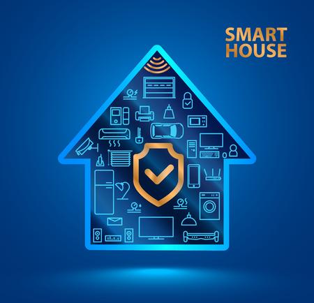 Symbol-Silhouette-Smart-Haus mit Symbolen von Haushaltsgeräten. Das Schild-Symbol. Schützen Sie Ihr Zuhause vor Hackern oder Räubern. Die Sicherheit des Internets der Dinge (iot). Standard-Bild - 82188365