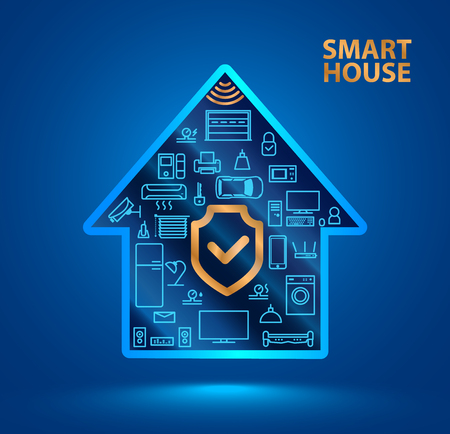 Symbol silhouette smart house with icons of household appliances. The shield icon. Protecting your home from hackers or robbers. The security of the Internet of things (iot). Stock Illustratie