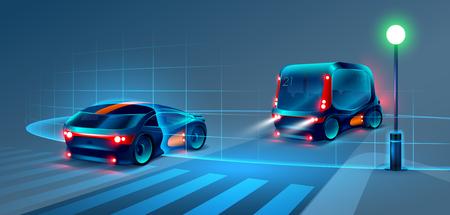 Autobuses autónomos inteligentes y paseos en coche por la ciudad de la noche. El autobús inteligente escanea la carretera y se queda sin un conductor. El autobús inteligente reconoce las señales de tráfico, las marcas de carriles y los peatones en el cruce de peatones. VECTOR
