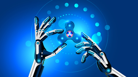 Hand spinner toy in robot hands. the robot shows the fidget toy for increased focus, stress relief. Future blue background. VECTOR