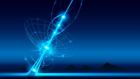 Duża antena satelitarna transmituje i odbiera sygnał z kosmosu. Sprzęt do telewizji satelitarnej i nadawania radiowego. Sygnał radiowy propaguje fale w przestrzeni. liniowe zaplecze technologiczne. WEKTOR