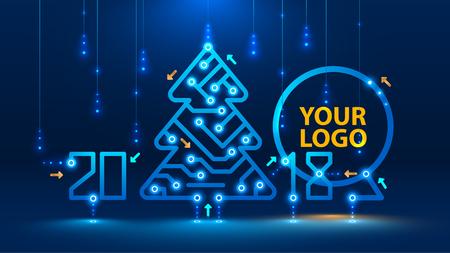 Sjabloon Nieuwjaar en kerstkaarten in de stijl van nieuwe technologieën. Kerstboom, 2018 jaar op de printplaat. Sneeuwval en sneeuwvlokken van de elektronische pulsen en signalen. VECTOR Stockfoto - 84747807