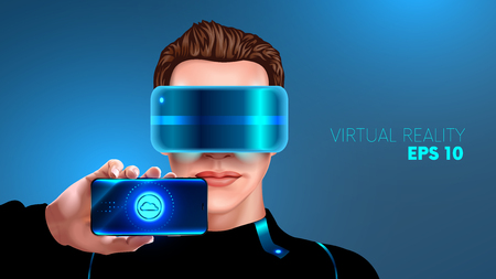 cyber woman: young man with glasses virtual reality shows the screen of the smart phone. Vr glasses. App for smart phone virtual reality. realistic VECTOR
