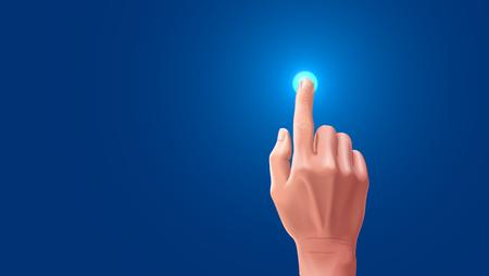 美しい手は、タッチ スクリーンで指を押したとき。ブランクのベクトル、指でタップすると、タッチ スクリーン上のボタンが強調表示されます。