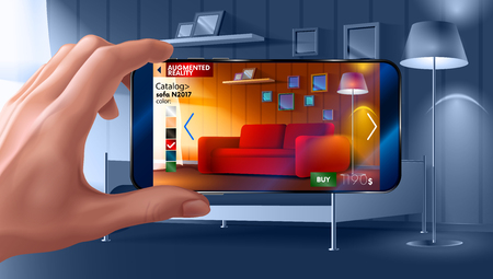 Augmented reality application of smartphone that lets you place virtual furniture to your real home before buying. Man holding smartphone in hand horizontally.