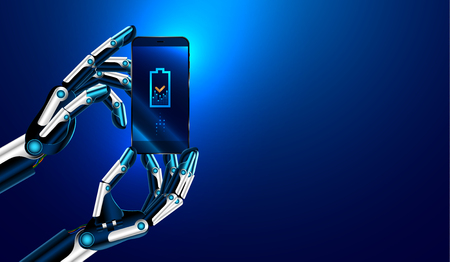 The robot advertise smart phone. Robot hands holding a smart phone and displays on its screen an icon of a charging battery. VECTOR