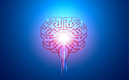 artificial intelligence, brain, printed circuit Board, PCB, conductors, pads, and neural signals on a blue background Illustration