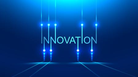 mot d'innovation. métaphore de la technologie ou titre de la bannière concept. Fond bleu Style de carte PCB