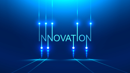 innovation word. technology metaphor or concept banner title. Blue background. PCB board style