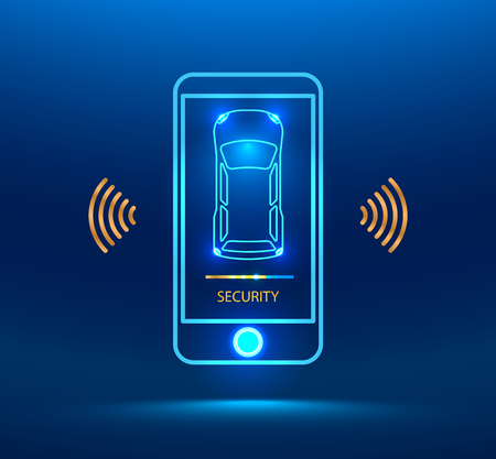 keyless: Smart car alarm system icon. The smart phone controls the car security on the wireless and reports the owner a level of protection of the car. cybersecurity future. Vector illustration concept