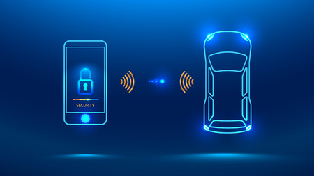 Smart car security system icon. The smartphone controls the car security on the wireless and shows the owner a level of protection of the car Vector illustration concept Illustration