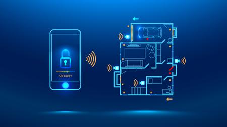 Handy steuert Smart Home in der Ferne durch die App Ihres Smartphones. Zeigt das Schutzniveau des Hauses. Zukunft der Cybersicherheit. Vektor-Illustration