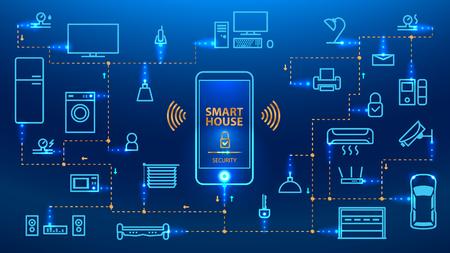 Internet de las cosas El teléfono inteligente controla los dispositivos en la casa. Smart Home obedecerá los comandos de su teléfono inteligente. Concepto. vector