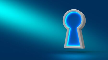 Security concept. Neon sign Keyhole on blue background. Set for design presentations. Trend modern logotype design. 3D rendering Stock Photo