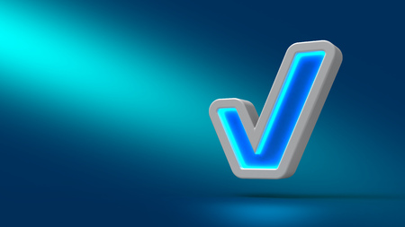 cyan business: 3D Illuminated check symbol on cyan background. Set for design presentations. Stock Photo
