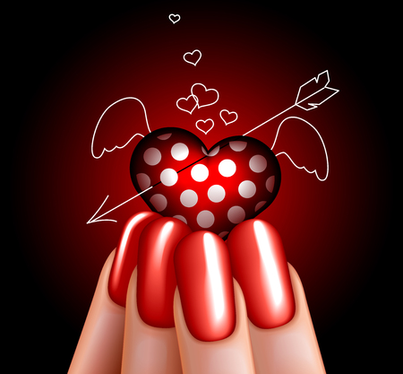 Glass angel heart in hand. manicure. glamour