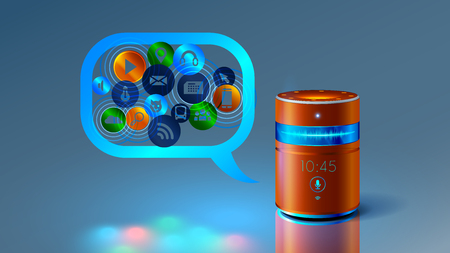 Smart speaker with voice control. Voice control of your smart house. Abstract future product. Smart speaker speaks with you and helps to obtain information. Illustration