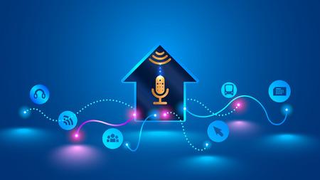 家は音声コマンドを認識し、デバイスを管理します。  イラスト・ベクター素材