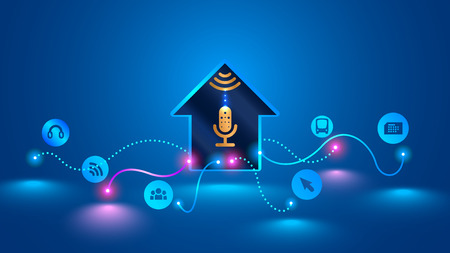 Home recognizes voice commands and manages devices. Illustration