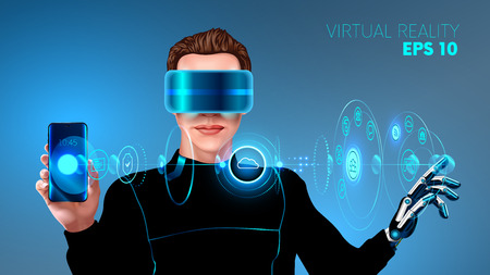 A young man in a cyber suit wearing virtual reality headset and touches the virtual holographic interface. The application of virtual reality for smartphone. futuristic concept. VECTOR