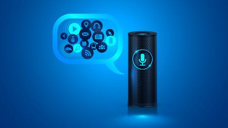音声コントロールとスマート スピーカー。あなたのスマート ホームの音声コントロール。スマート スピーカー レポート、ニュース、音楽を再生、