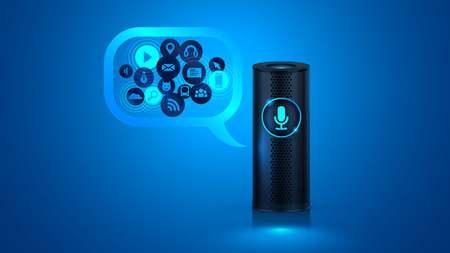 Smart speaker with voice control. Voice control of your smart home. Smart speaker reports the news, plays music, answers questions. Vector. 일러스트