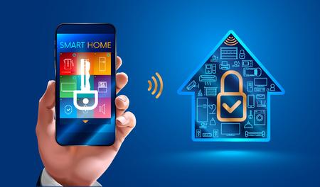 Un homme utilisant un téléphone intelligent commande des appareils domestiques intelligents. Sécuriser la maison intelligente. Le contrôle des systèmes de maison intelligente n?est disponible qu?à partir du téléphone mobile des utilisateurs autorisés.