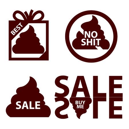 muck: sales icon logo with shit. Lies, deception marketing vector illustration