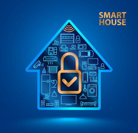 Silhouette smart home with icons of household appliances. A gold closed lock icon. The Internet of things. Iot. Security system. VECTOR