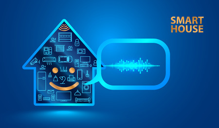 Voice assistant helps you to manage smart home system. Smart house said in a human voice. Control the Internet of things using voice commands. Vector Illustration