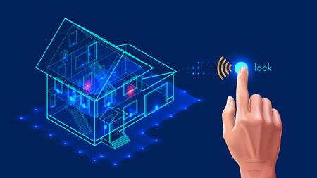 스마트 홈 보안 시스템. 3D 집 계획 엑스레이입니다. 제어 장치는 스마트 폰 응용 프로그램으로 인터넷을 통해 문과 창문을 잠급니다. 홈 보호 무선 시