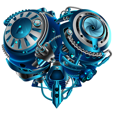 Complex mechanical heart vintage style steam punk. Mechanism in the shape of a heart. Technological concept. A symbol of love. VECTOR