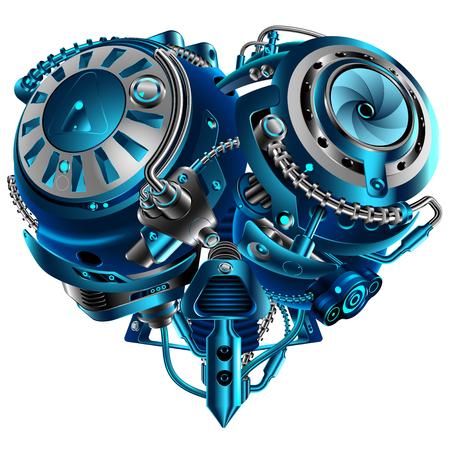 Complejo mecánico estilo vintage punk steam steam. Mecanismo en forma de corazón. Concepto tecnológico Un símbolo de amor. VECTOR