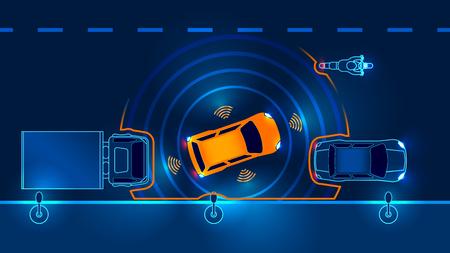 Autonomous car leaves the parking illustration.