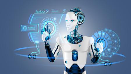 Robot-cybernetisch organisme werkt met een virtuele HUD-interface in augmented reality. Humanoïde robot met een plastic gezicht drukt op de knop op het digitale scherm. Toekomstig concept.