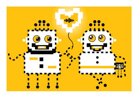 Cartoon robots love. Illustration