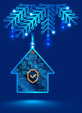 Sistema electrónico de seguridad para el hogar. Decoración de Navidad en forma de una placa de circuito impreso. Bola de Navidad en el árbol de Navidad, internet de las cosas Ilustración de vector
