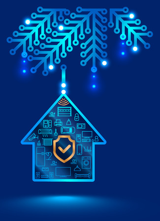 Electronic home security system. Christmas decoration in the form of a printed circuit Board. Christmas ball on the Christmas tree, internet of things Illustration