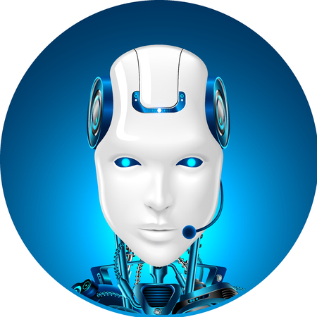 Technical support icon. Chat bot web assistance. Robot in headphone. Front view Vectores