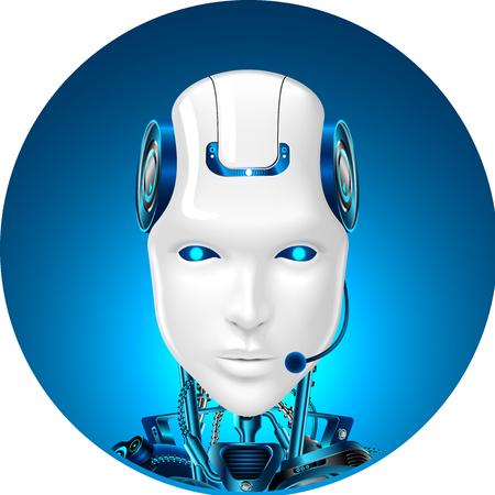 Ikona pomocy technicznej. Pomoc w czacie internetowym dla botów. Robot w słuchawkach. Przedni widok