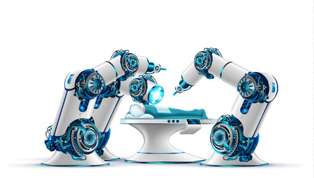 Robotic surgery. Robot surgeon makes a surgery patient on the operating table. Robotic arms holding the surgical instruments. Modern medical technologies. Innovation in medicine. Future concept. Stock Illustratie