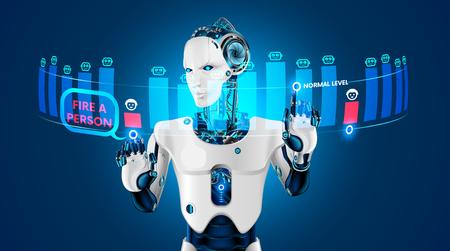 El robot con inteligencia artificial despidió a un humano del trabajo. Robots que reemplazan a los trabajadores humanos en la industria. El humano perdió su trabajo a manos de un robot. Industria de la automatización Robots reemplazando a la humanidad. Estafa futura Ilustración de vector